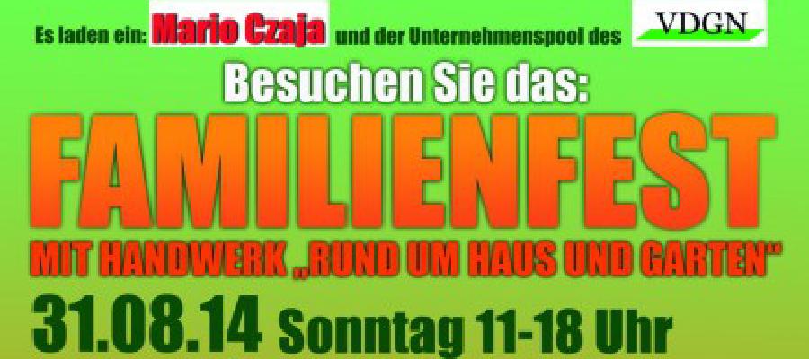 Am 31. August zwischen 11.00 und 18.00 Uhr findet das Familienfest auf dem Durchlacher Platz in Mahlsdorf Süd statt. Hiermit möchte ich Sie persönlich und im Namen der CDU von Kaulsdorf -Mahlsdorf recht herzlich zu unserem diesjährigen Familienfest, welches wir gemeinsam mit dem VDGN begehen werden, einladen. Bereits am Vorabend, 30.08.14 von 18.00 – 22.30 Uhr, möchten wir Sie anlässlich unseres Jubiläums zur Schlagerparty mit abschließendem Feuerwerk einladen.