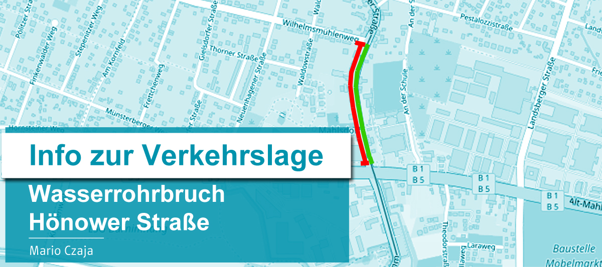 Von einigen Anwohnern erhielt ich Fragen zu der Verkehrssituation im Zusammenhang mit der Sperrung der Hönower Straße. Deshalb habe ich bei den Berliner Wasserbetrieben zum aktuellen Sachstand angefragt und erhielt schnell eine Antwort. Weil es sicher nicht nur die Anlieger interessiert, gebe ich die Informationen gerne an Sie weiter.