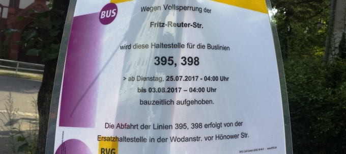Vollsperrung der Fritz-Reuter-Straße vom 25.07. – 03.08.