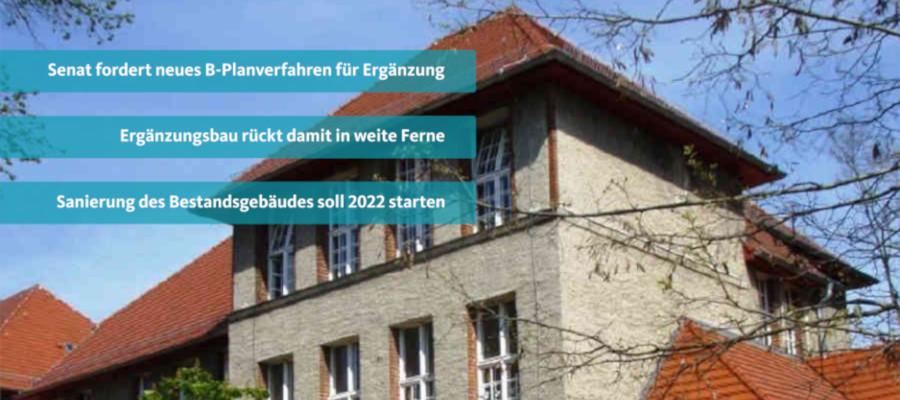 Die Erweiterung der Franz-Carl-Achard-Grundschule erfordert nach Ansicht des Senats eine weitere Änderung des Bebauungsplanes und wird sich damit weiter verzögern. Ein Zeitplan kann nicht benannt werden.