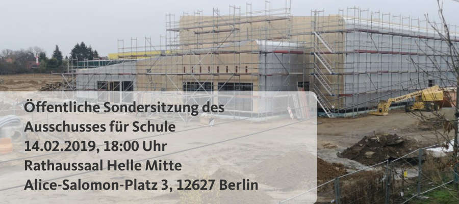 In der letzten Woche hatte ich Ihnen zugesichert, dass wir die Fragen rund um die Meldung der Auslagerung der Mozartschule in den Neubau der ISS in Mahlsdorf schnellstmöglich im Rahmen einer Sondersitzung des Schulausschusses im Bezirksparlament thematisieren werden. Der Termin findet nun am 14.02.2019, 18:00 Uhr statt. Die Tagung ist öffentlich.