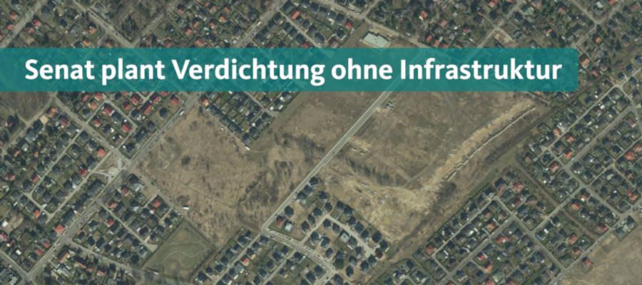Obwohl der Schulbau in Kaulsdorf und Mahlsdorf ins Stocken geraten ist, plant der Senat nun die weitere Verdichtung. Auf den noch unbebauten Flächen zwischen Stralsunder Straße, Bisamstraße und Landesgrenze möchte der Senat statt kleinteiliger Bebauung mehrgeschossigen Wohnungsbau errichten.