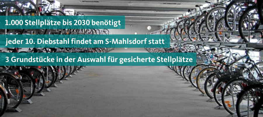 Bereits heute sind die Stellplätze für Fahrräder am S-Bahnhof Mahlsdorf überausgelastet. Da die aktuell bestehenden 250 Stellplätze meist bereits mehrfach belegt sind, werden viele Fahrräder zusätzlich im Umfeld des Bahnhofes wild geparkt. Die Schaffung zusätzlicher Stellplätze hat daher für mich hohe Priorität. Bereits 2016 hat sich die CDU daher dafür ausgesprochen, dass auf den aktuell als Wendeschleife für die Tram genutzten Flächen zusätzliche Stellplätze entstehen.