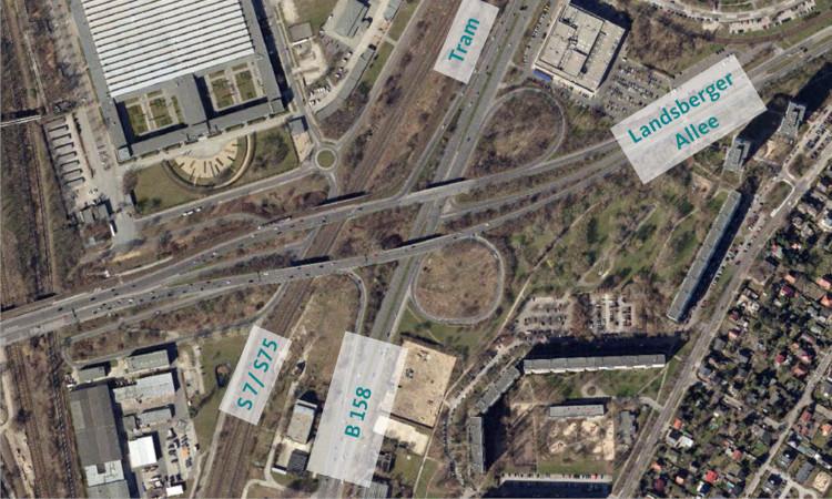 Aus 5 mach 3. Künftig wird der Marzahner Knoten nur noch 3 Bauwerke umfassen und durch eine Ampel geregelt. Die Baumaßnahme soll 2022 starten.