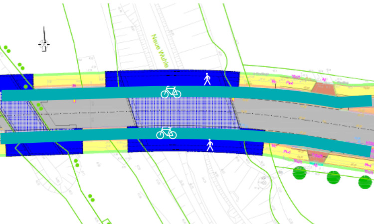 Erste Planungen des beauftragten Ingenieurbüros. Für Fuß- und Radverkehr: Engstelle kann beseitigt werden.
